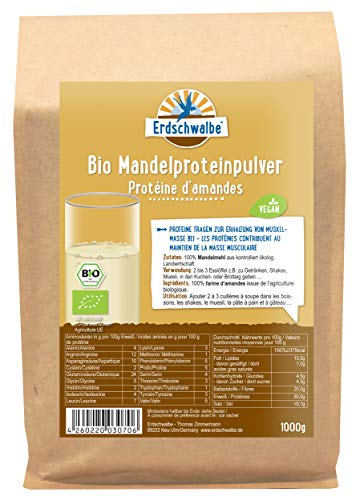 Erdschwalbe Bio Mandelprotein - 53% Proteingehalt - Veganes Eiweißpulver - 1 Kg