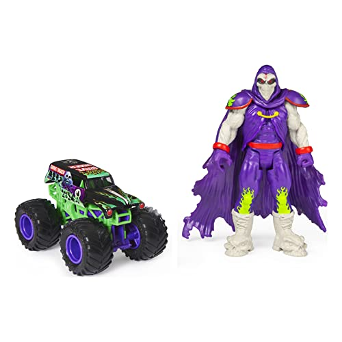 Monster Jam, Official Grave Digger 1:64 Scale Monster Truck and 5-inch Grim Creatures Action Figure (Metallic Purple)