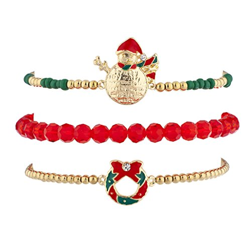 Lux Accessories Goldtone Red Christmas Holiday Santa Arm Candy Bracelet Set (3pc)