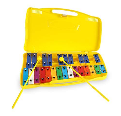 Classic Cantabile GSG-25 Sopran Glockenspiel - Kinder Xylophon mit 25 Tönen - Inklusive praktischem Tragekoffer und Schlägeln - Gelb