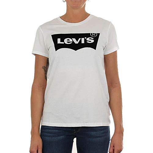 Levi's® Levis Damen T-Shirt Perfect Tee Flock HOUSEMARK 17369-0394 Weiß, Größe:M