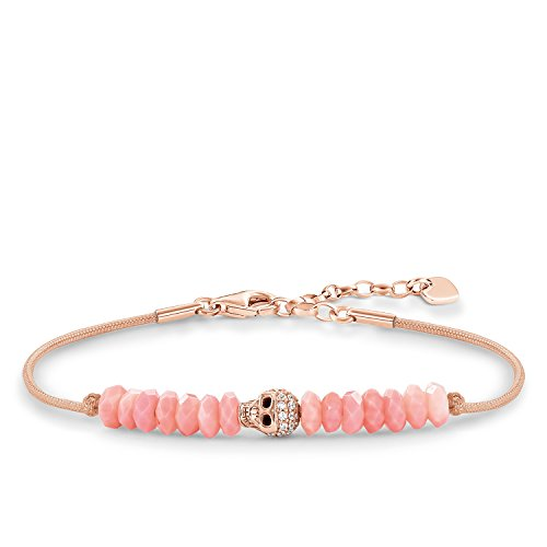 Thomas Sabo Damen-Armband Love Bridge Totenkopf 925 Sterling Silber 750 rosegold vergoldet Nylon Zirkonia weiß pink Länge von 15 bis 18 cm LBA0073-901-9-L19,5v