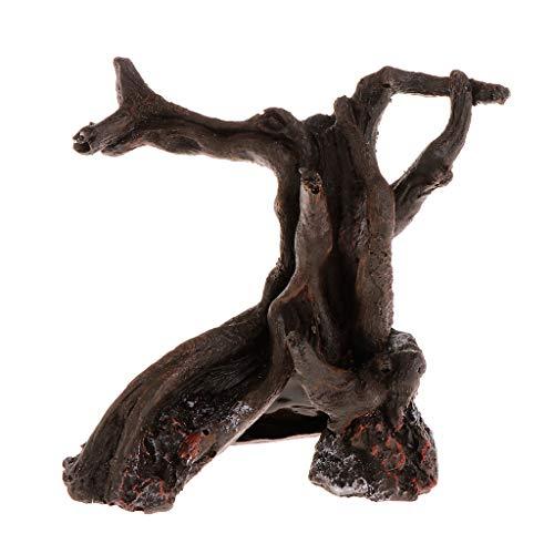 Rtengtunn Acuario Madera Muerta Resina Artificial de Madera Pecera Decoración Adornos Planta Paisaje Árbol Reptil Caso Tocón Raíz Decoración Suministros