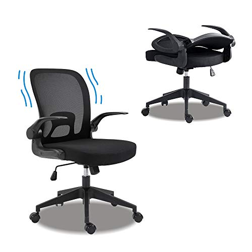 AHMED Ergonomic Office Chair Desk Chair for Home Office,Folding Mesh Computer Chair with Lumbar Support and Flip-up Arms,Black