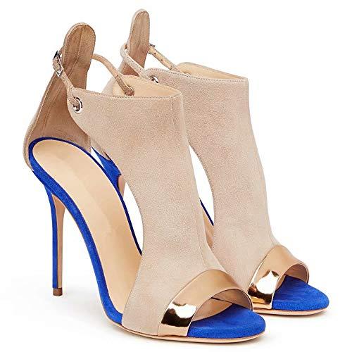 Hinyyrin Riemchensandalen Damen mit Absatz, Damen Kleid Sandalen, Mode High Heels, Blau/Rot, 18 cm