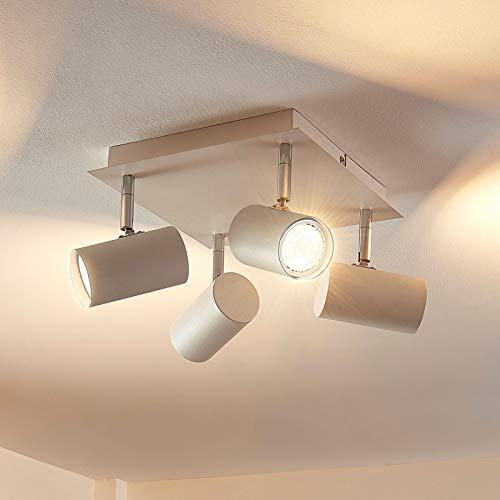 Lindby LED Deckenlampe 'Iluk' (Modern) in Weiß aus Metall u.a. für Wohnzimmer & Esszimmer (4 flammig, GU10, A++, inkl. Leuchtmittel) - Deckenleuchte, Wandleuchte, Strahler, Spot, Lampe