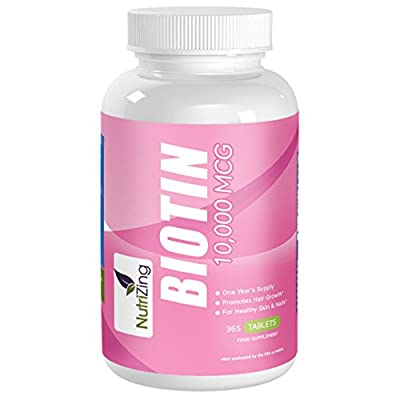 NutriZing Biotin Supplement - High Strength 10,000 mcg for Men & Women - 365 Tablets For A Full Year's Supply For Hair Loss - Best For Hair Growth and Healthy Skin & Nails - Water Soluble B-Complex - Easy To Swallow Vitamin B7 Tablets - Promote Growth of