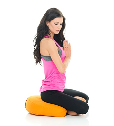 Awaken Meditation - Crescent Cushion   Washable Yoga Bolster - 100% Natural Cotton Filled with Buckwheat (Orange)
