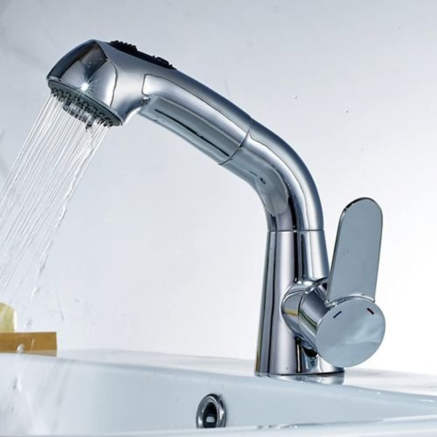 Makej Copper Pull Out Bathroom Sink Faucet Hot and Cold Water Mixer Crane Square Basin Sink Tap Chrome Finished,Roll B