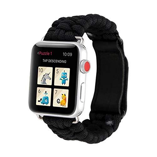 TIANQ Survival-Armband für Apple Watch 5, 44 mm, 40 mm, iWatch-Band 42 mm, 38 mm, Outdoor, Lederverschluss, Armband für iWatch 5, 4, 3, 2, 1, China, Schwarz