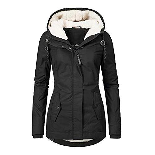 Winterjacke Damen Dicker Warm Wintermantel Reißverschluss Winterparka mit Kapuze Windbreaker Langarm Mantel Taschen Funktionsjacke Mode...