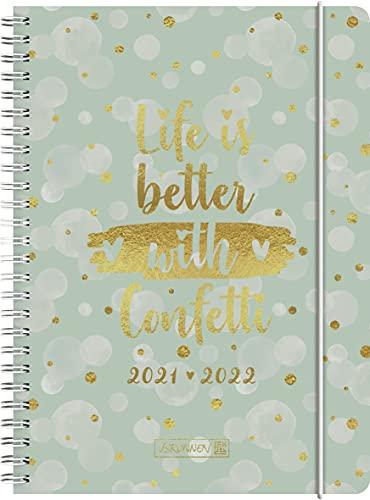 """Brunnen 1072156092 Schülerkalender 2021/2022 (18 Monate) """"Confetti"""" 2 Seiten = 1 Woche, Blattgröße 14,8 x 21 cm, A5, PP-Einband"""