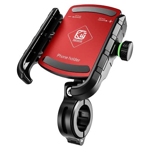 BTNEEU Porta Cellulare Bici, Supporto Telefono per Moto Universale Anti-Shake, Supporto Smartphone per Bici Manubrio MTB Scooter 360° Rotabile Compatibile con 3.5 -7.0  iPhone Samsung Huawei (Rosso)