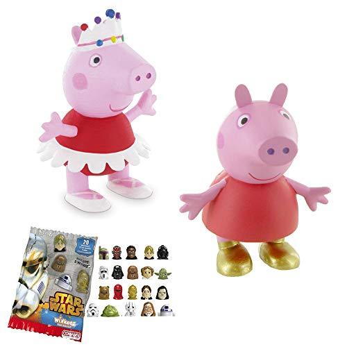 Lote 2 Figuras Comansi Peppa Pig - Peppa Bailarina - Peppa Botas de Oro + Regalo