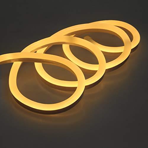 ECD Germany Neon LED Strip 10m - SMD 2835-120 LEDs/m - 9W/m - 230V - Warmweiß 3000K - ohne Lichtpunkte - Flexible - Wasserdicht IP68 - LED Leiste Streifen Band Lichtband Lichtschlauch