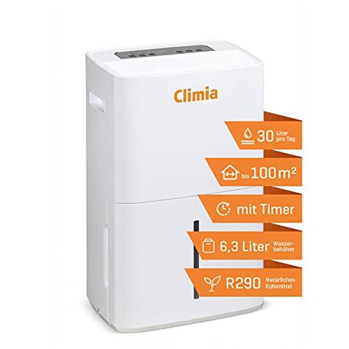 Climia CTK 240 elektrischer Luftentfeuchter mit ökologischem Kühlmittel, kleiner Raumluftentfeuchter (max. 30 l/Tag) geeignet für Räume bis 230 m3
