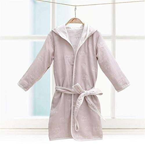 Pasen Comfortabele Kinderen Hooded Badjas Bedrukt Katoen Pyjama Nachtjapon Badjas Nachtkleding Eenvoudige Stijl (Kleur: Lavendel Maat: Olifanten) Thuis Mode Comfortabele pyjama
