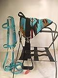 Party Ponies Miniature Horse/SM Pony Childrens Bareback Saddle PAD Set with BITLESS Bridle - Turquoise Indian Native Set