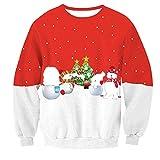Sweats à Capuche Homme,Hoodie Noël Sweat-Shirts Pull Chaud Homme Sweatshirt Bonhomme de Neige Impression 3D Survêtements de Sport T-Shirt à Manches Longues Chemise Vest Blouse Hiver F-Red XL