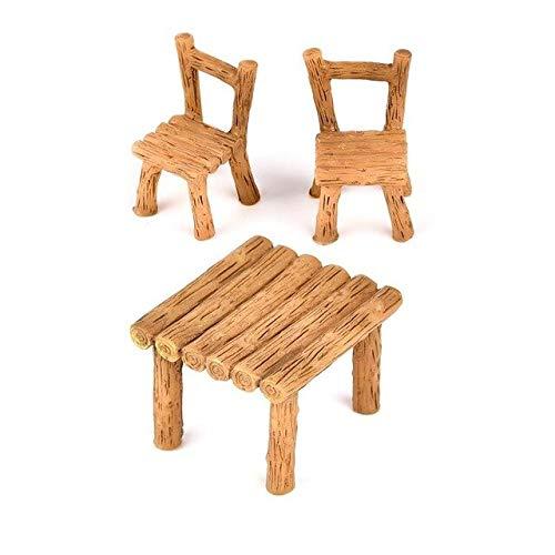 SANHOC 3pcs / Set Micro mesa Fee sillas de resina, paisaje ornamental jardín en miniatura terrario Figurine Bonsai Decoración: Art 002