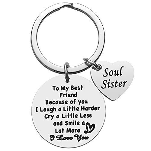Friendship Gifts Best Friend Keychain - Thank You Gift To Best Friend Soul Sister Keychain, Friend Appreciation Gifts, Birthday Christmas Gifts for Best Friend