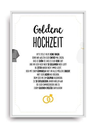 Geschenk Karte GOLDENE HOCHZEIT Kunstdruck 50. Hochzeitstag Gold Brautpaar Bild ohne Rahmen DIN A4