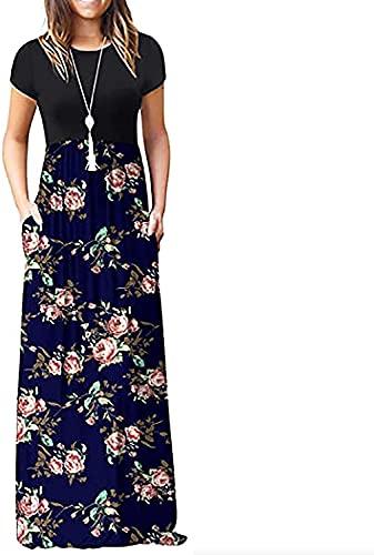 LYDIANZI Mujer Verano Maxi Tanque Largo Vestido Casual Manga Corta O Cuello Soldress Floral Gráfico Suelto Vestido Largo con Bolsillos(Size:Grande,Color:Azul Oscuro)