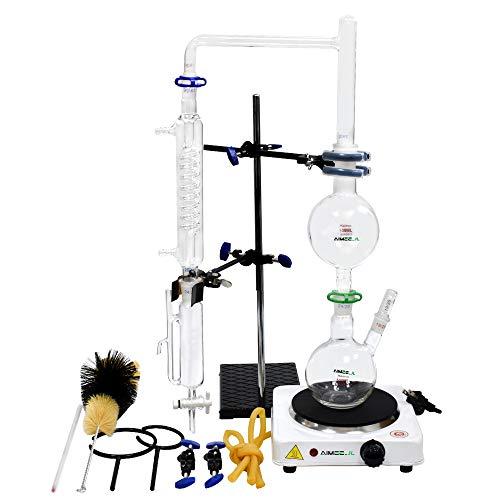Kit de laboratorio para destilar agua y aceites esenciales con purificador, matraces de vidrio, placa eléctrica y tubo condesador Graham, 500 ml