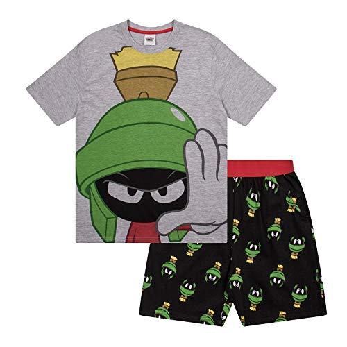 Looney Tunes - Herren Schlafanzug - kurz - mit Space Jam, Taz, Daffy Duck oder Elmer Fudd - Offizielles Merchandise - Grau - Marvin der Marsmensch - L