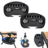 C-Chain Zero Gravity Chair Tray - Cup Holder for Fold Lounge Chairs Large, Zero Gravity Lounge Chairs Universal Clip with Mobile Device Slot, Snack Tray, and Water Cups Tray (2 Pack Black)