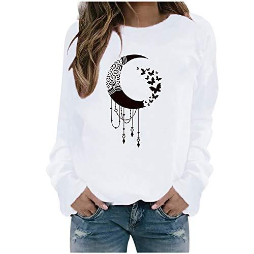 Masrin Mask Damen Sweatshirt Lässiger Mondschmetterling gedruckt Pulloveroberteile Langarmhemden Bluse(XL,Weiß)