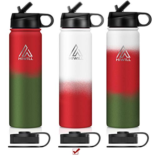 Hiwill Stainless Steel Insulated Water Bottle 2 Lids, Cold 24 Hrs Hot 12 Hrs, Double Wall Vacuum Thermos Flask, Travel Sports Leak Proof Bottle, BPA Free (Xmas-Snow( 2 lids ), 21oz)