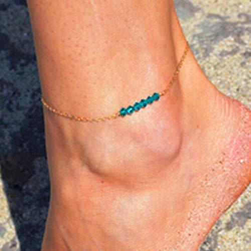 Yienate Bracelet de cheville en perles vertes à la main pour femme et fille