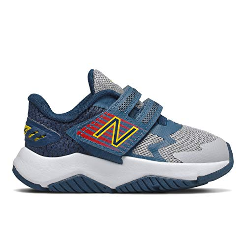 New Balance Kid's Rave Run V1 Hook and Loop Shoe, Light Aluminum/Navy, 8 W US Toddler