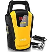 joyroom Portable Air Compressor Tire Inflator (CZK 3650) - 12V DC Car Tire Pump with Digital Pressure Gauge, Bright Emergency Flashlight - for Auto, Truck, Bicycle, Ball