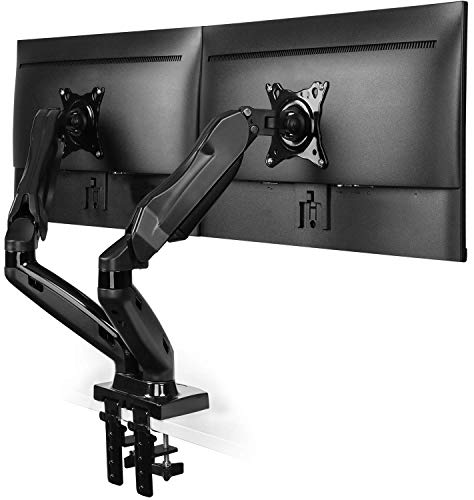 HUANUO Dual Monitor Stand, Gas Spring Arm 360° Rotatable for 13 to 27 Inch Screens, 2 Mounting Options, VESA 75/100