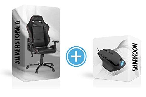 Sharkoon - Set gaming con mouse Shark Force + sedia Gaming Zone, mouse da gaming professionale con sei pulsanti, design ergonomico con superficie in gomma. Poltrona con ruote e meccanica basculante.