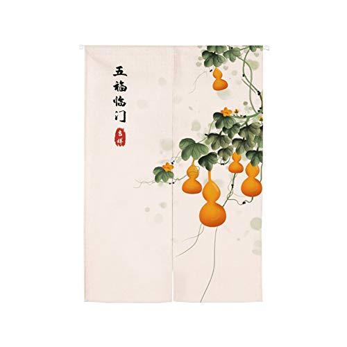 Japanse Noren deuropening gordijn, opknoping wandtapijt deur gordijn paneel kamer scheidingswand, katoenen linnen tapijt voor huisdecoratie 75x140cm(30x55inch) H