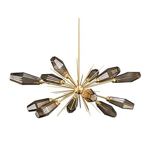 WEM Moderna Lámpara de Araña G9 Sputnik Durante la Luz, 12 Luces de Vidrio Soplado a Mano Mid Century, Lámpara de Techo con Rama de Copas Esmeriladas, Lámpara de Araña Starburst Gris de 12 Luces