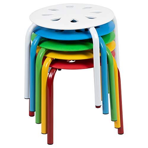Flash Furniture Plastic Nesting Stack Stools, 11.5