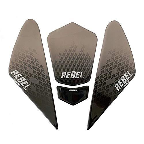 Motorrad Aufkleber Motorrad 3D-Druck-Pad Körper Scratch Aufkleber Side Dekoration Abziehbilder for Honda Rebel 500 CMX500 rebel500 Zubehör (Color : Titanium)