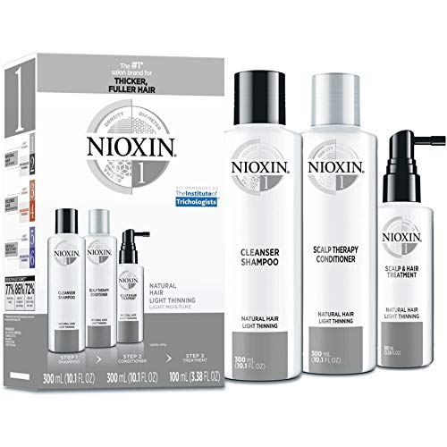 Nioxin System 1 Hair Care Kit for Natural Hair with Light Thinning, 3 Count, Full Size