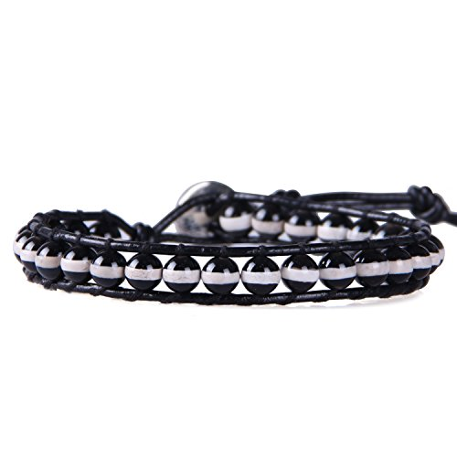 KELITCH Armband Schwarz Weiß Streifen Achat Perlen Damen FreundschaftsSchwarz Leder Armbänder