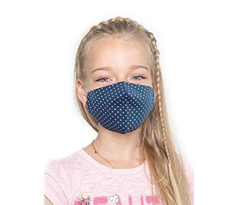 Set de 3 Masques Facial avec Poche pour Filtre/filtre inclus/Pour Les Enfants de 6 à 12 ans, Lavable et Réutilisable, 100% Coton, Fait à la Main, pour Garçons et Filles (Multi # 5)