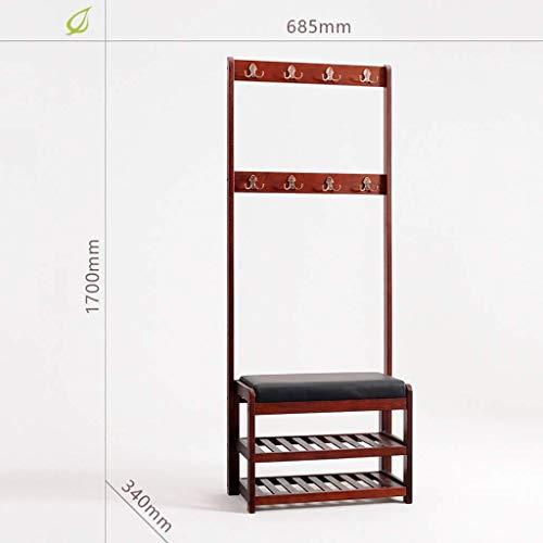 Schoenenrek voor schoenenbank, kleine schoenenkast aan de deur, kan op een schoenenbank zitten, van bamboe, ruimtebesparend, multifunctioneel, 2 lagen (afmetingen: 88 x 27 x 45 cm) QDQXDX5185r-2 Qdqxdx5185r-2