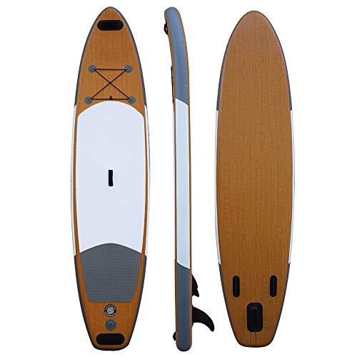NgMik Tabla De Surf Inflable Todo El Paddle Board 336CM Los 78CM Longitud Anchura 15 Cm De Grueso Inflable Sup Estable (Color : Wood, Size : 336x78x15cm)