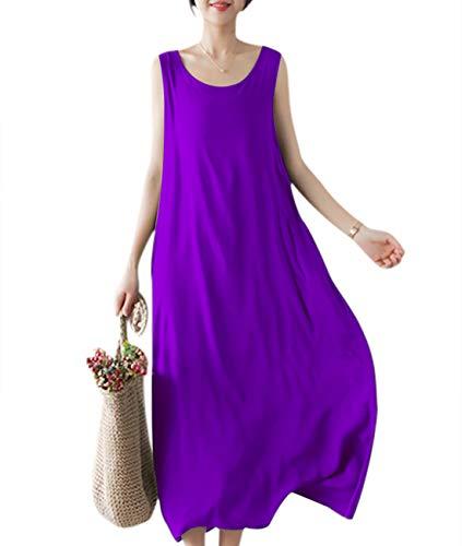 YESNO Girls Casual Flowy Tank Dresses Loose Summer Beach Sun Dress EHG (M, EHG Purple)