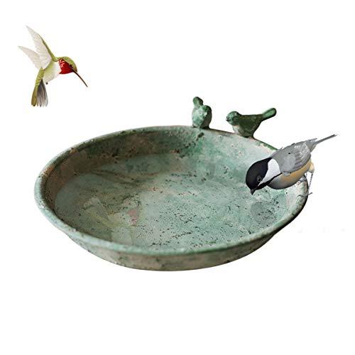 TentHome Bain pour Oiseaux Sauvages Bol d'alimentation pour Oiseaux Bassin d'oiseaux Rond en Fonte Balcon Terrasse Jardin Déco Maison de Campagne, Vert (Grand)