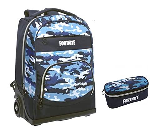 Kit completo de mochila con ruedas compatible con Fortnite Blu Camo + estuche con cremallera ovalada + llavero globo terráqueo luminoso + bolígrafo multicolor