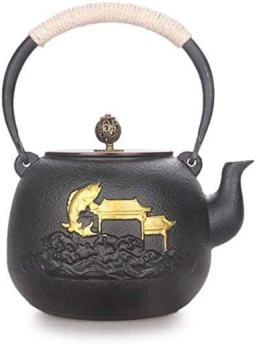 BANANAJOY Teapot, tè teiere Imposta Ghisa teiera di tè vasi di Ferro Teiera Mano Spessa di Ferro Pot di tè Inoltre Zuppiera Old Iron Pot Squid Gantry Nero No Coating 1.3L Servizio da tè,